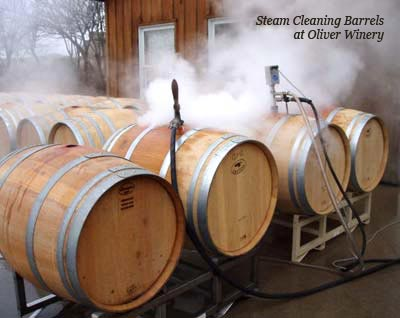 Sterilizing Barrels at Oliver Winery in Indiana